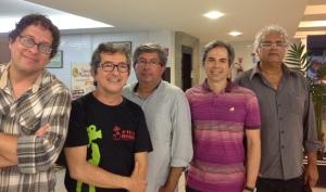 A partir da esquerda: Renato Felix, Bertrand Lira, Fernando Trevas Falcone, Orlando Margarido e Pedro Nunes